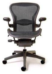 Herman Miller Classic Aeron Task Chair: Tilt Limiter w/Seat Angle Adj - Lumbar Pad - Fully Adj Leather Arms - Standard Carpet Casters