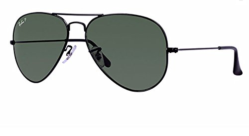 Ray Ban RB3025 002/58 62M Black/ Polarized Green - Ray Black Bans Aviator