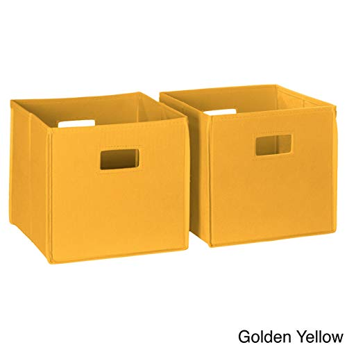 (2 Piece Collapsible Storage Bins with Handles Portable Cubby Cube Storage Bins Drawers Closet Organizer Foldable Fabric Storage Bins For Kids Bedroom Clothes Toys Basket Container Multipurpose, Yellow)