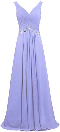 ANTS Women's Formal V Neck Sleeveless Long Evening Prom Dresses Gowns Size 20W US Lavender