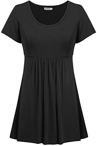 (Tencole Tunic Tops for Leggings, Women Short Sleeve Causal Fit and Flare Shirts Black)