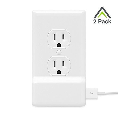 2 Pack SnapPower USB Charger Outlet Wall Plate Cover - No Batteries Or Wires - Installs In Seconds - (Duplex, White)