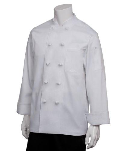Chef Works Men's Bordeaux Chef Coat, White, (Button Unisex Chef Coat)