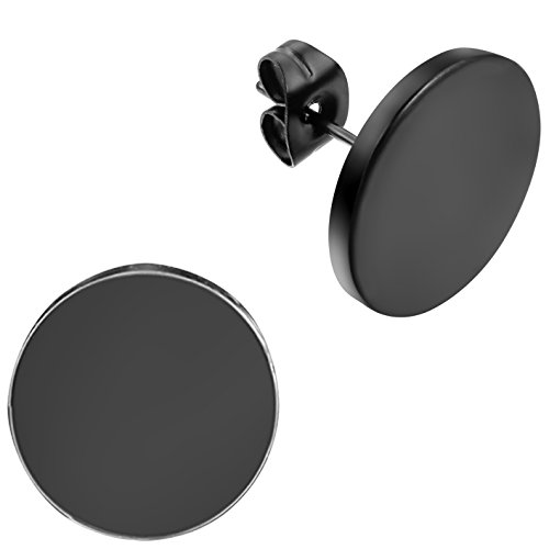 Flongo Men's Women's 14mm Round Stainless Steel Black Tunnel illusion Tapers Cheater Faux Fake Stud Earrings by Flongo (Image #4)