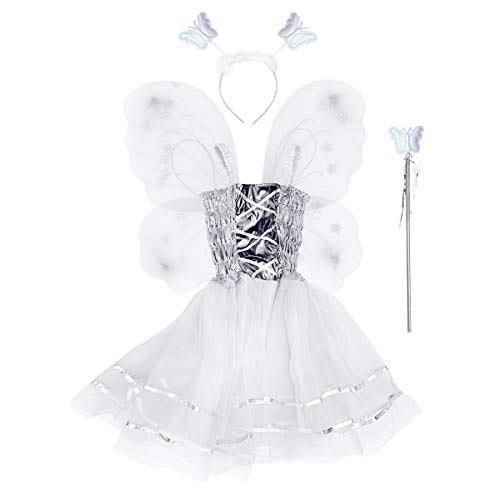 Amosfun Kids Butterfly Wing Flower Angel Wand Skirt Fairy Cosplay Chritsmas Fancy Performance Costume Carnival Costumes Carnival Props -
