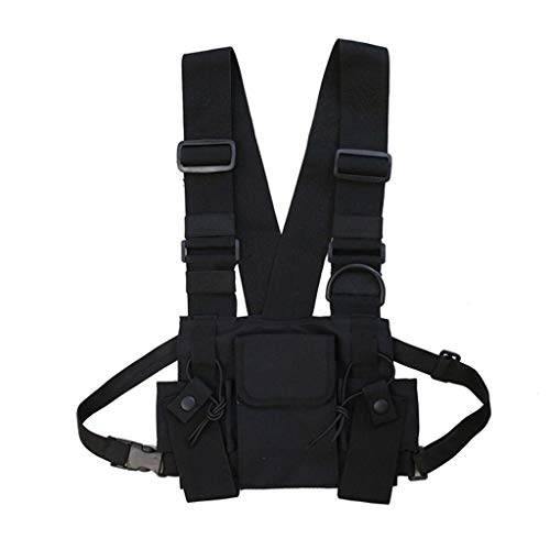 Fashion Chest Rig Bag,Crytech Tactical Radio Chest Harness Multipurpose Front Chest Pack Pouch Holster Vest Rig Sport Backpack Daypack for Two Way Radio Walkie Talkie for Women Men (Black)