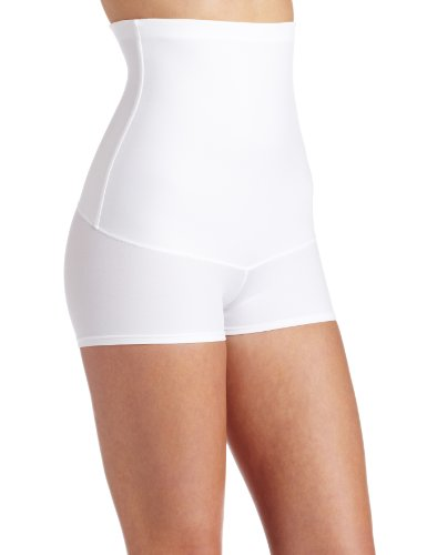 Maidenform Flexees Women's Plus Size Shapewear Minimizing Hi-Waist Boyshort, White, Medium