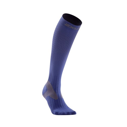 2XU Men's Elite Compression Performance Sock (Blue/Grey, Small)