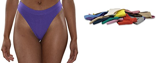 Sexy Basics Women's 6-Pack & 12 Pack Active Sport Thong Panties Underwear (12 Pack- Wow Assorted Solids, Large)