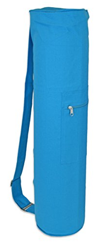 YogaAccessories Cotton Zippered Yoga Mat Bag - Light Blue