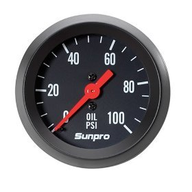 (Sunpro CP8216 StyleLine Mechanical Oil Pressure Gauge - Black Dial)