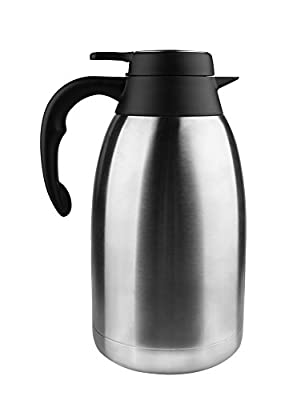 Spaco 68 Oz Stainless Steel Thermal Carafe + Double Walled Vacuum Thermos +12 Hour Heat Retention 2 L