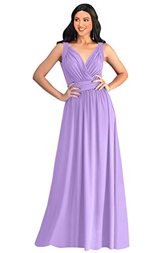 KOH KOH Petite Womens Long Sleeveless Flowy Bridesmaids Cocktail Party Evening Formal Sexy Summer Wedding Guest Ball Prom Gown Gowns Maxi Dress Dresses, Lilac Light Purple S 4-6