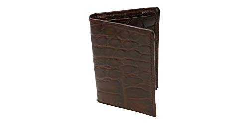 Brown Genuine Millennium Alligator Gusseted Business/Credit Card Case Wallet – Alligator Inside and Out - Brown & Cognac - Factory Direct Made in USA by Real Leather Creations FBA301 by Real Leather Creations
