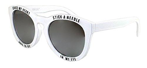 Womens White Text Round Cateye - My Glasses Heart Cross