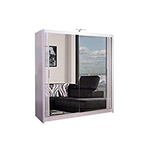 Mirror Sliding 2 or 3 Door Wardrobe Chicago with LED Light 90cm/120cm/150cm/180cm/203cm/250cm White-Black-Grey-Walnut-Wenge-Oak (White, 120cm)