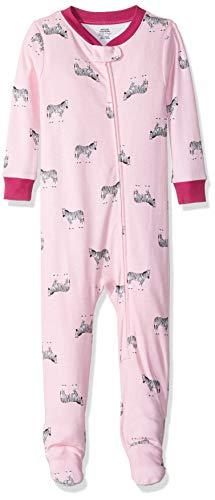 Amazon Essentials Baby Girls Zip-Front Footed Sleeper, Zebra Pink, 6-12M ()