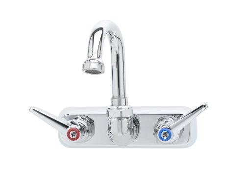 T&S Brass B-1146-01 Workboard Faucet, Wall Mount, 4-Inch Centers, 131X Swivel Gooseneck, Lever Handles ()