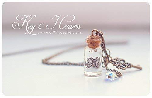 Collar de alas de angel, colgante vial de cristal, collar de alas, collar vial, botella en miniatura, colgante de swarovski, collar de ángel.