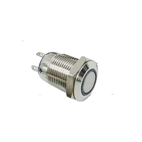 Ocamo Push Button Switch 12mm Waterproof Latching Flat Round Stainless Steel with Super Bright LED Light Shine Locking Blue