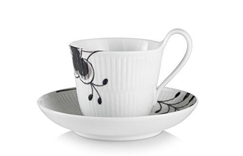 Black Fluted Mega 8.5 oz. High Handle Cup and Saucer