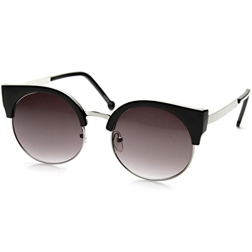 (Classic Round Half Frame Metal Temple Circle Cat Eye Sunglasses (Black-Silver)