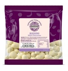 Biona Organic White Chocolate Covered Raisins - Store Bna