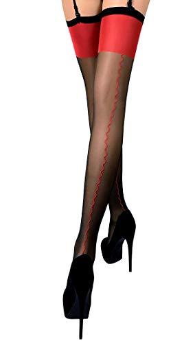 Thigh High Seamed Stockings for Garter Belt Patterned Top Back Seam S M L (S, Black 04) (Tops Patterned)