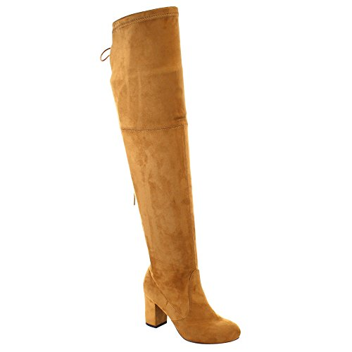 Camel Back Arch (Women's Thigh High Boots Stretchy Drawstring Over The Knee Chunky Block Stiletto Heel Boots Camel 7.5)