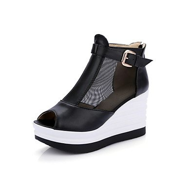 La mujer Primavera Verano sandalias Gladiator comodidad material personalizado de tul de piel sintéticaLa FICE &Carrera visten casual conjunta HeelSplit cuña Black
