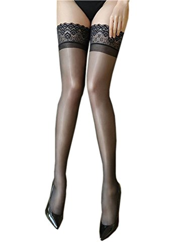 Kffyeye Lace Thigh High Sheer Hold Up Pantyhose Stockings, Ultra Shimmery Plus Footed Deep Wide Silicone Top 15 Den Tights 0907 (1pcs Black)