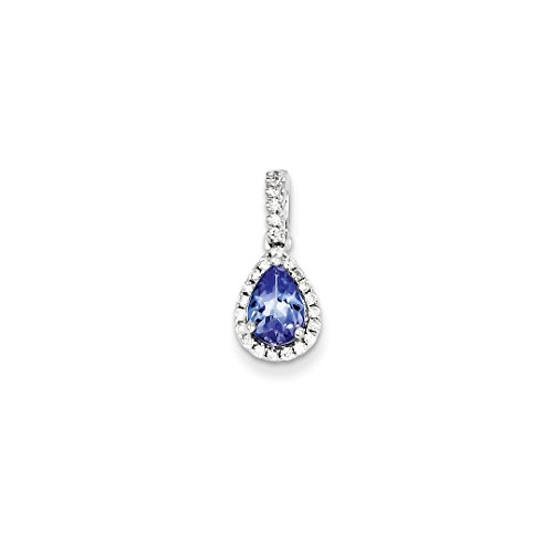 ICE CARATS 14k White Gold Blue Tanzanite Diamond Pendant Charm Necklace Gemstone Fine Jewelry Gift Set For Women Heart (Tanzanite Pendant 14k)