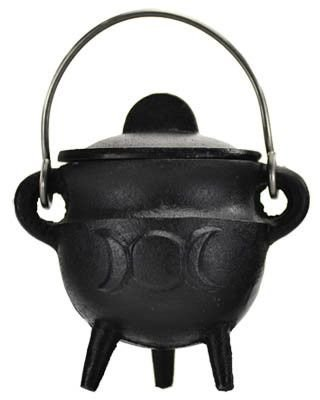 Triple Moon Cast Iron Cauldron 19cm Tall