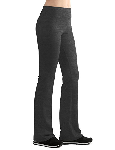 LL WB961 Womens Slim-Fit Bootleg Yoga Pants L HEATHER_CHARCOAL