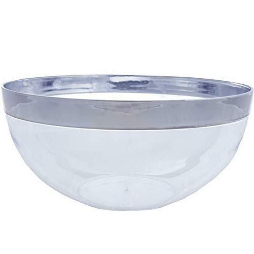 Sandover 4 /pk Silver Rimmed 2qt Disposable Plastic Bowl Catering | Model WDDNGDCRTNS -693