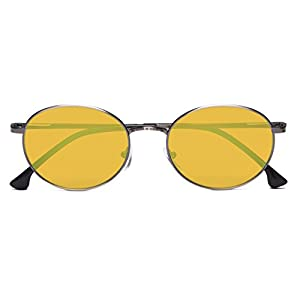UV Protection,Anti Blue Rays,Reduce Eyestrain,Oval Computer Reading Glasses(Silver,Amber Tinted Lenses) +1.5