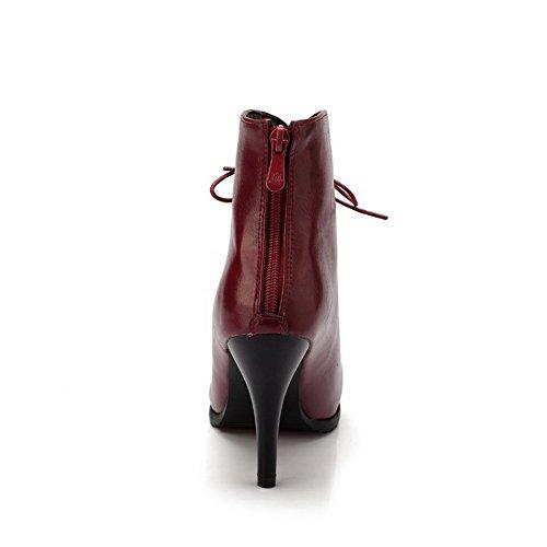 VogueZone009 Damen Knöchel Hohe Reißverschluss Weiches Material Niedriger Absatz Stiefel, Rot, 31