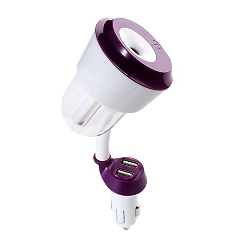 Mini Car Aromatherapy Humidifier Car Charger with Fresh Purification Function with Dual USB Port(Purple)