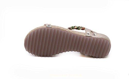 RuiCasual Sandalen Diamanten Perlen flache Schuhe gro?e Yards Gold