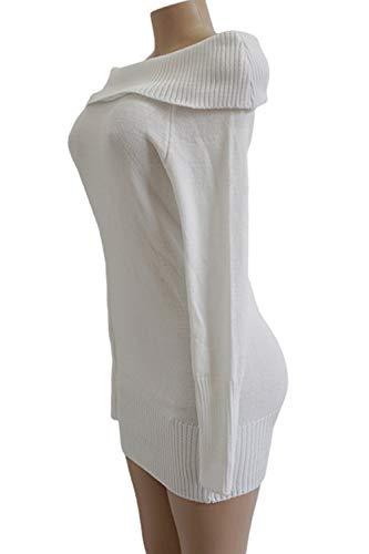 Maglione Donne La Casual Dalla Le Vestiti Maglia Mini Spalla Bodycon White t1dx0q