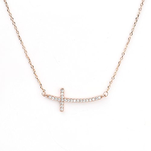 United Elegance Contemporary Sideways Cross Necklace Twinkling Swarovski Style Crystals in a Rose Gold Tone Setting (Rose Cross)