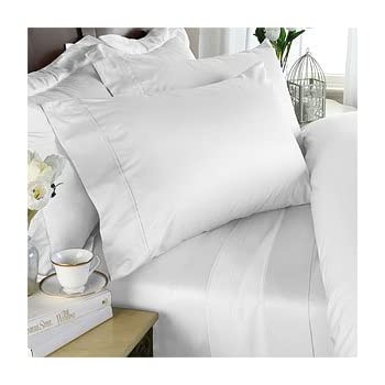 Egyptian Bedding 800 Thread Count Egyptian Cotton 4pc Bed Sheet Set, Twin,  White Solid