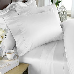 Egyptian Bedding 1200-Thread-Count Egyptian Cotton 1200TC 4pc Bed Sheet Set, King, White Solid 1200 TC (1200 Tc Sheet Set)