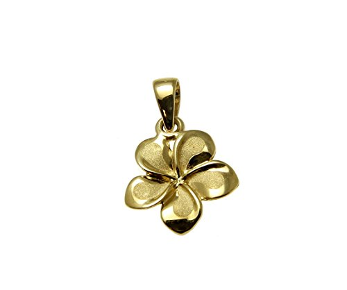 Arthur's Jewelry 14K Solid Yellow Gold Hawaiian 11mm Plumeria Flower Charm Pendant