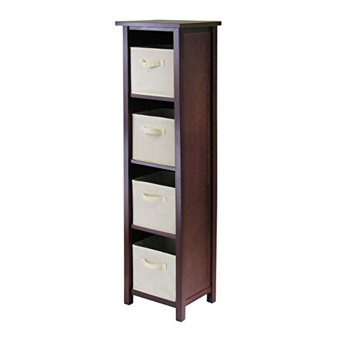 Winsome Wood Verona Wood 5 Tier Open Cabinet with 4 Beige Folding Fabric Baskets