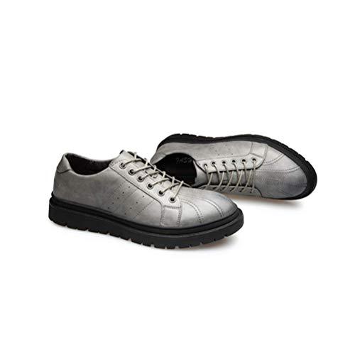 Casual Khaki De Cuero Verano Moda Cordones Primavera Zapatos Para Hombres Retro Lyzgf xg4HqXx