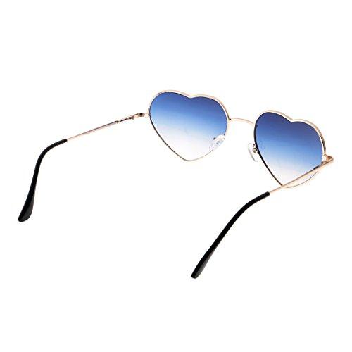 bleu Mode Femme MagiDeal Soleil Coeur clair Classique avec Rétro Lunettes Monture Amour de Forme Métallique ZwqTFwxR