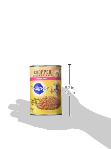 Pedigree Chopped Ground Dinner With Beef Adult Canned Wet Dog Food, (12) 22 Oz. Cans