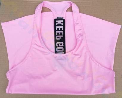 SGYHPL Sommer Frauen Gym Sport Weste Ärmelloses Shirt Fitness Laufbekleidung Tanktops Workout Yoga Unterhemden Quick Dry Tuniken M Keep Going Pink