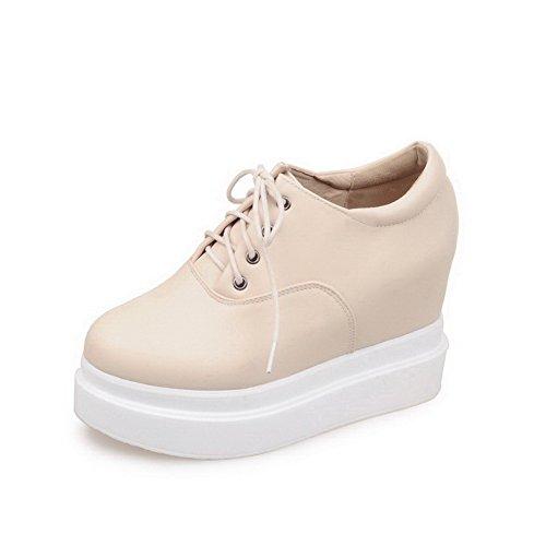 AllhqFashion Damen Hoher Absatz Weiches Material Rein Schnüren Rund Zehe Pumps Schuhe Cremefarben